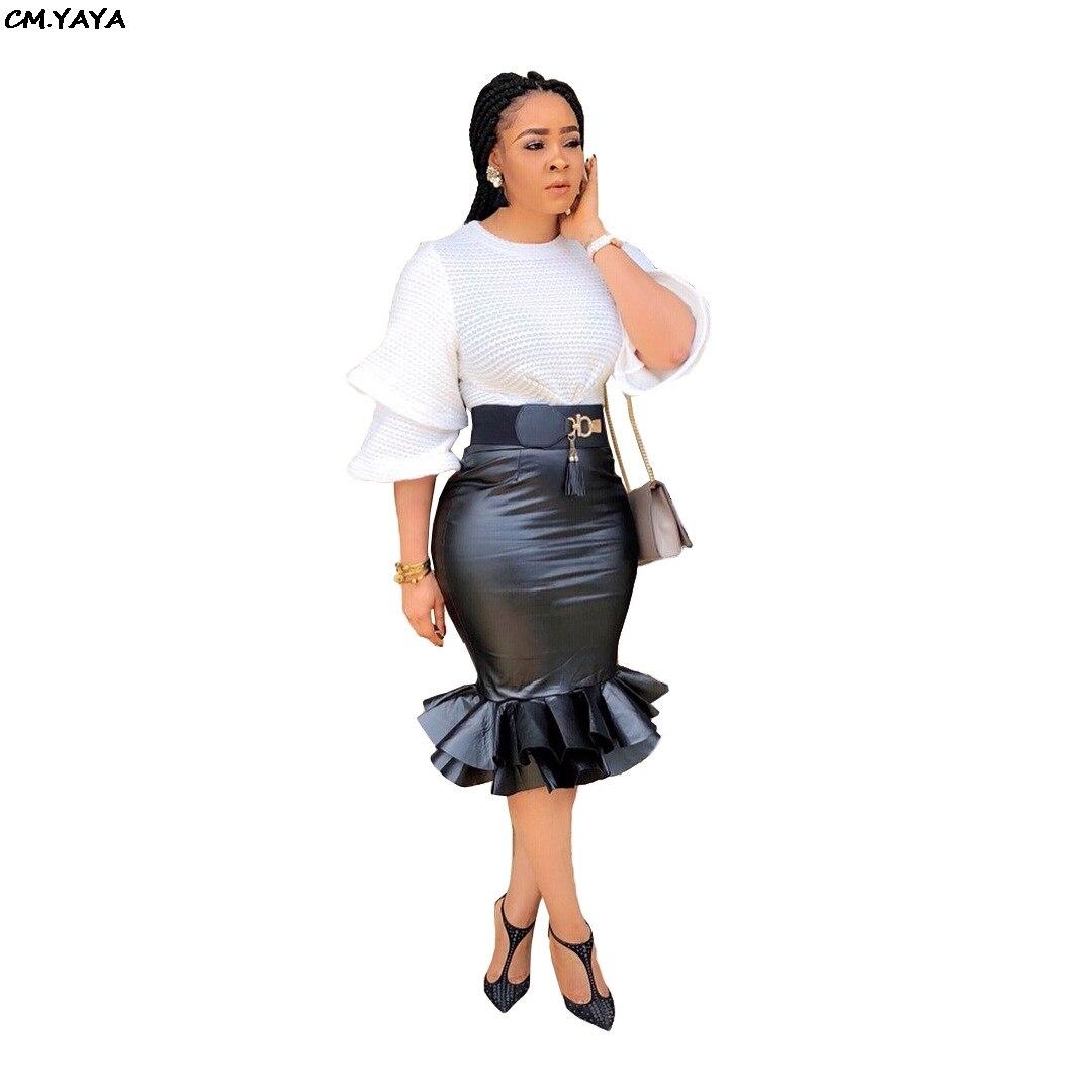 Frauen neue faux leder PU hohe taille schwarz dünne midi cascading rüschen meerjungfrau röcke high street wear fashion rock L8032