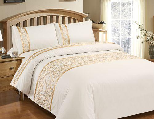 couvre lit or Luxe Chic vintage blanc ensemble de literie broderie housse de  couvre lit or