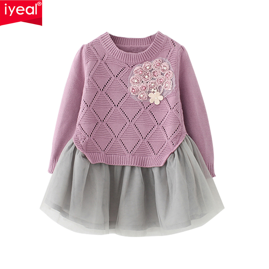 IYEAL Fashion Kids Baby Girl Dress Cotton Knitted Sweater Chiffon Costume  Spring Children Clothing Girls Clothes for 2-8 Years 5484a4fbf1ed4