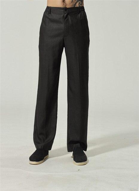 US $59.5 30% di SCONTO Vendita calda Nero uomo 100% Vera Pantaloni Di Seta Cinese Tradizionale Kung Fu Dritto Della Metà di Vita Pantaloni Taglia Ml