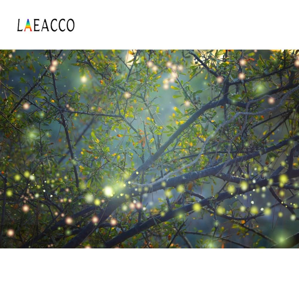 Laeacco Dreamy Shiny Polka Dots Forest Tree Mystery Pray Scene Photo Backdrops Photographic Backgrounds Photocall  Studio