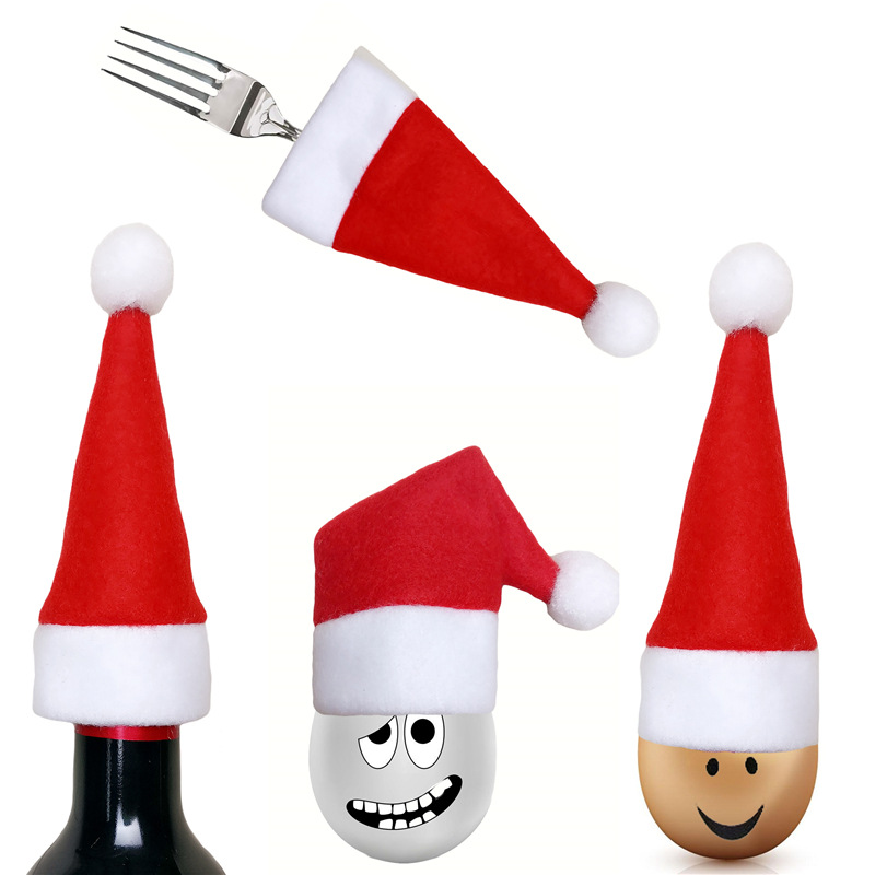 Mini Christmas Hat Knife Fork Cover Red Wine Bottle Cover Bag XMAS Dining Table Decorations Christmas Home Party Decor Supplies