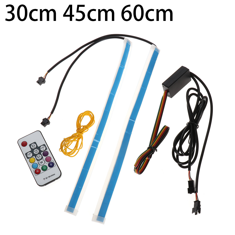 1set New Slim RGB Flowing Sequential Flexible LED DRL For Headlight Strip Daytime Running Light with Remote Control 304560cm (4)