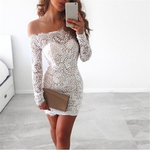 Women Sexy Off Shoulder White Lace Pencil Dress Evening Long Sleeves font b Slim b font