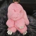 18 cm Hecho A Mano Genuino Real de Piel de Conejo Pom Pom de Copenhague Encanto Del bolso Llavero Anillo Llavero de Coches de Lujo de La Joyería Colgante F377