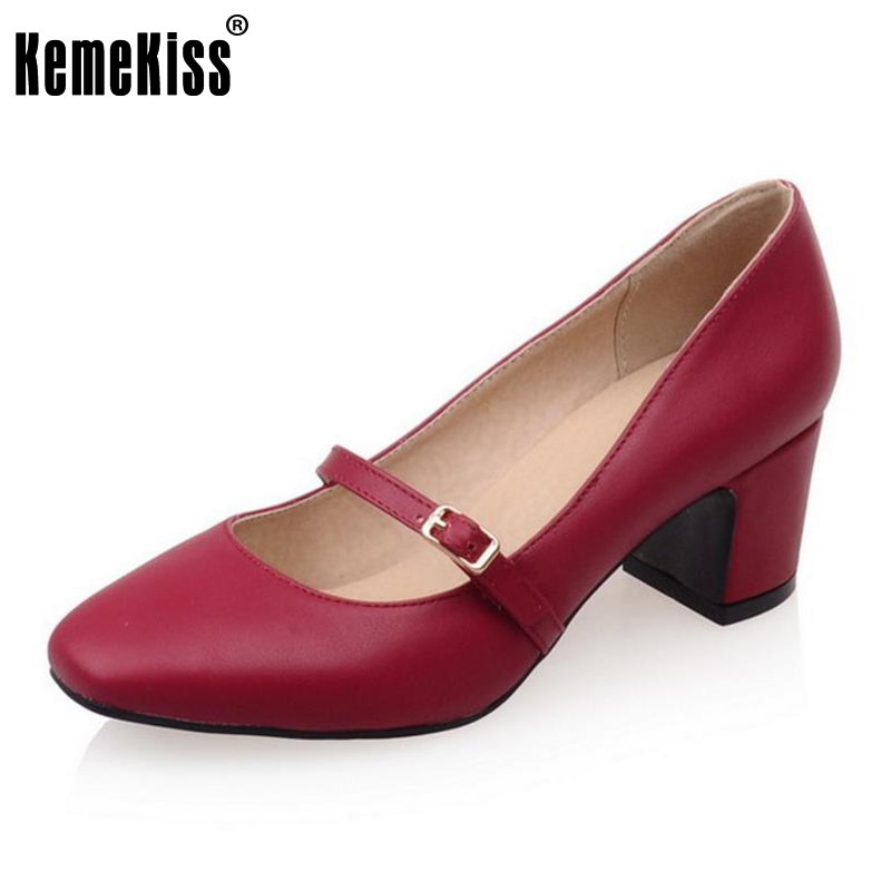 KemeKiss Size 33-43 Lady High Heel Shoes Women Ankel Strap Square Toe Thick Heel Pumps Party Daily Work Dating Female Footwears 5 colors ankle strap lady wedding shoes women red thick high heel pumps lady square toe black dress shoes size34 43