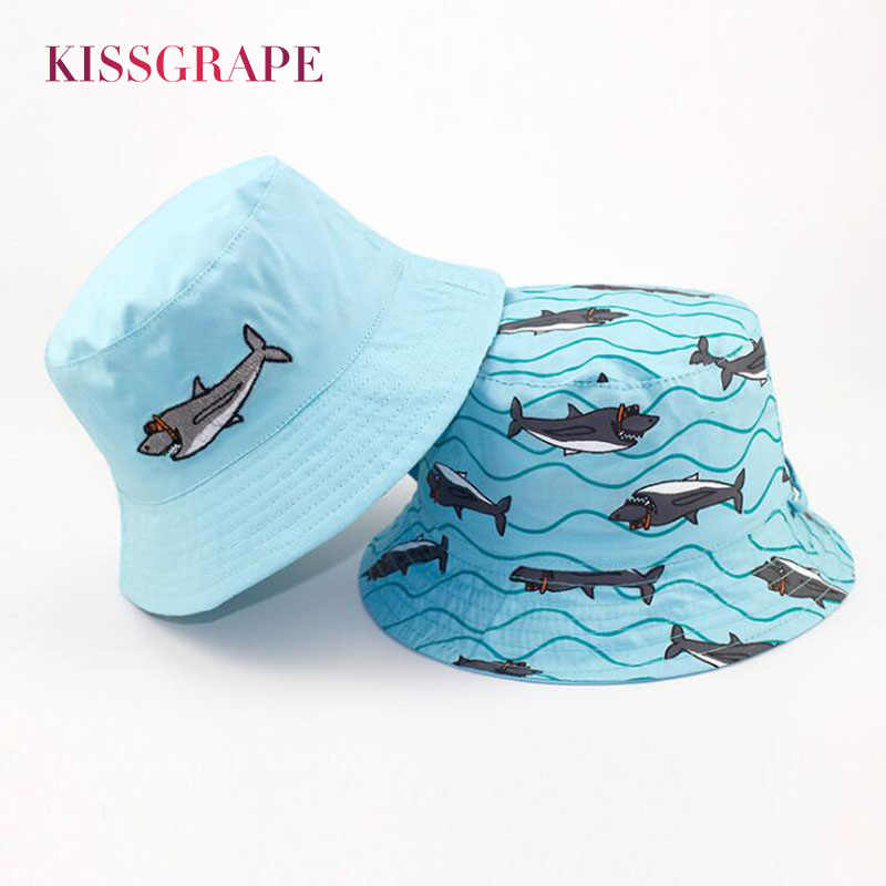 80ed495a AB Side New Spring Baby Boys Bucket Hat with Cartoon Shark Kids Boys Panama  Hat Child