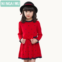 Autumn girl dress children's clothing new spring children baby princess wool dresses big girls party long sleeve pretty outfits