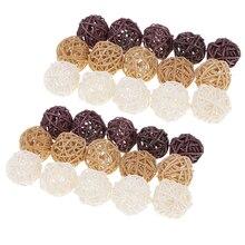Плетеные шары из ротанга, 30 шт., 3 см, белый, коричневый цвет, натуральный цвет, для дома, свадьбы, вечеринки, деревенские украшения, вазы, наполнители, игрушки для птиц