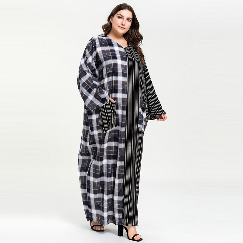 Image 4 - Plus Size Women Plaid Patchwork Striped Pocket Abaya Muslim Dress