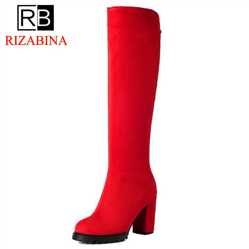 RIZABINA Size 32 -45 Women Stretch Slim Thigh High Boots Ladies Sexy Over The Knee Boots Woman Square High Heel Shoes Botas