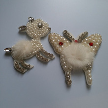Fashion white butterfly deer beaded patches for clothing sequins Rhinestone appliques parche DIY handmade clothes accessories
