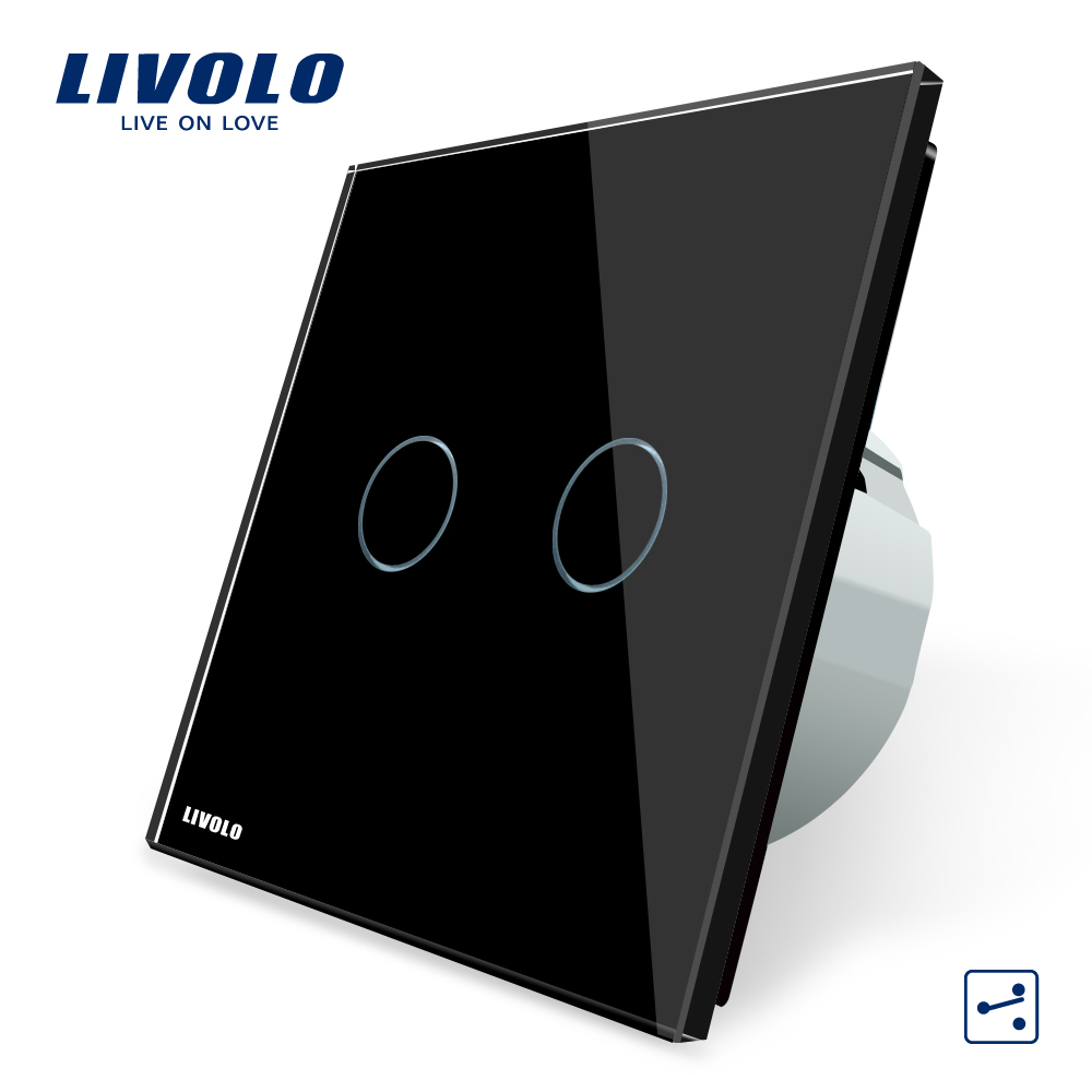 Livolo EU standard, Wall Switch, VL-C702S-12, 2 Gang 2 Way Control, Black Crystal Glass Panel, Wall Light Touch Screen Switch eu plug 1gang1way touch screen led dimmer light wall lamp switch not support livolo broadlink geeklink glass panel luxury switch