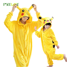 Flannel Warm onesies for adults onesie home clothing sets Pikachu pajamas woman cartoon Child cosplay christmas