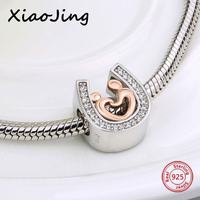 Silver 925 Gold Color Mom And Kid Hand In Hand Charms Horseshoe Beads With CZ Fit