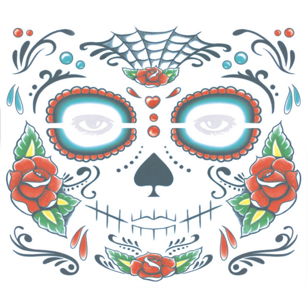 New Brand 1pc Zombie Day Of The Dead Temporary Tattoo Mask Costume