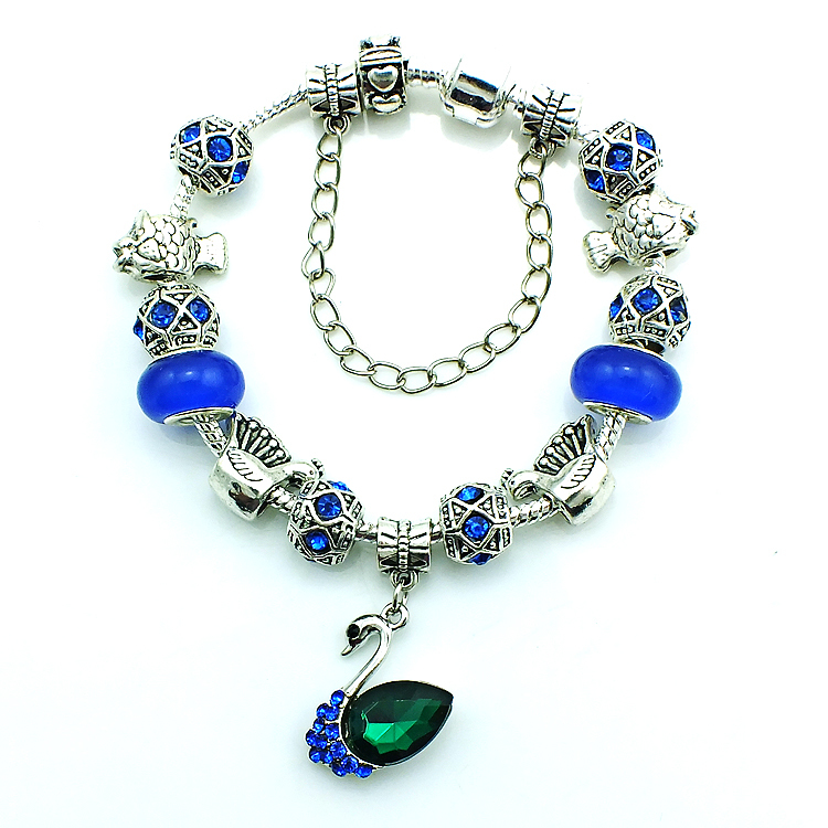 Free Shipping Fashion Swan Charms Bracelets Silver Plated Blue Glass Beads Infinity For Women DIY Bracelet & Bangle Jewelry