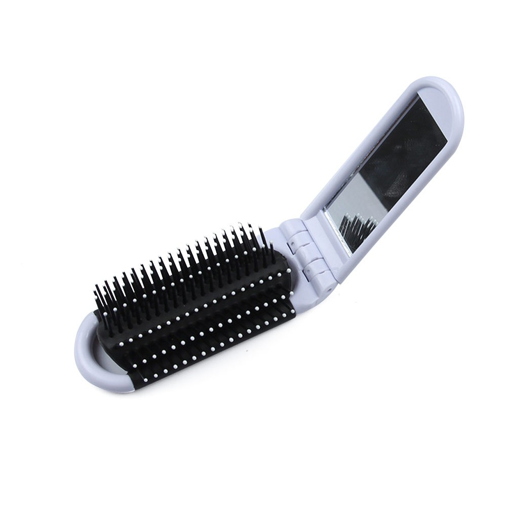 Professional Folding Comb Travel Hair Cute Cartoon Brush Portable With Mirror Compact Pocket Anti-static