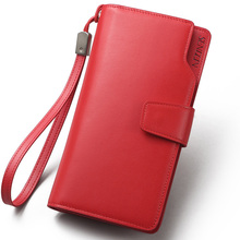 Sendefn High Quality Genuine Leather Women Wallet Solid Hasp Long Lady Casual Clutch Card Holder Phone Pocket Purse Money Bag