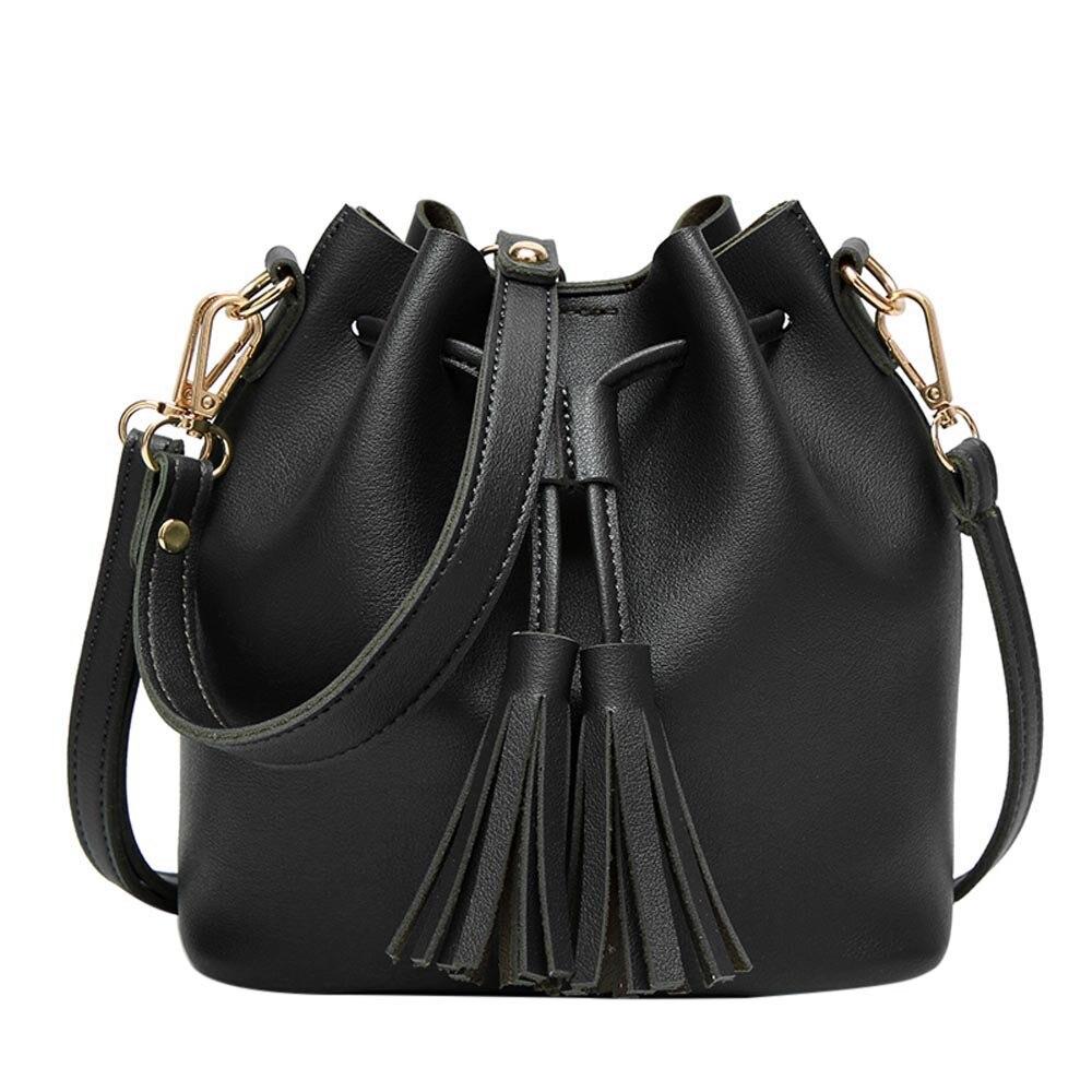 022dd56d452e Сумка женская небольшой новый ведро кожа Сумка ярких цветов мини сумки  кисточкой сумки Crossbody сумки Bolsa feminina