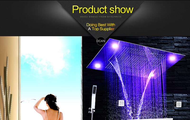 Bathroom Fixture Shower Faucets Ceiling Mounted Waterfall Mist Shower Head Big Rain LED Shower Set High Flow Thermostatic Bath (30)