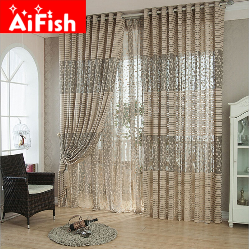 Brown / White Breathable Mesh Jacquard Curtain Fabric Tulle Balcony Window  Curtains For Living Room Kitchen