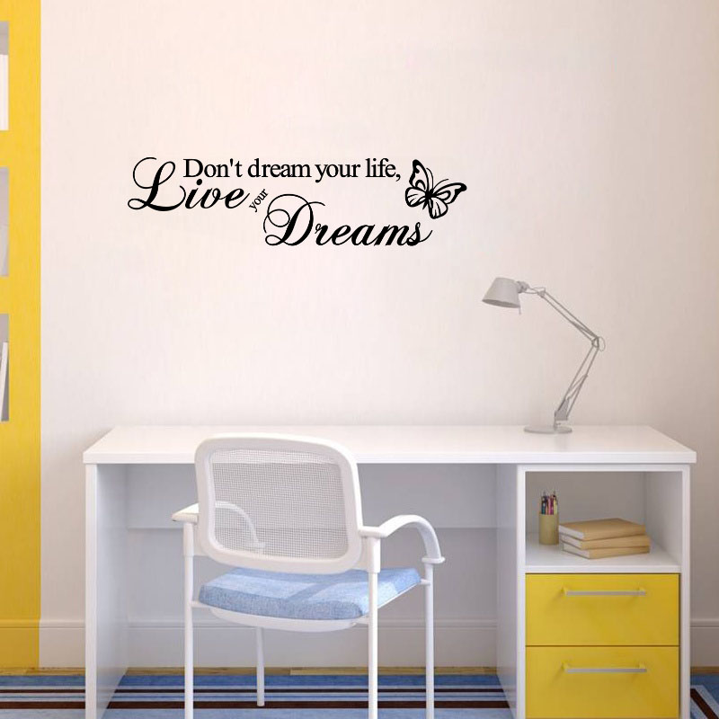 don't dream your life live your dreams wall stickers bedroom decoration zooyoo8142 adesivo de paredes vinyl home decal mural art