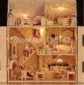13808 большой замок голос свет diy кукольный домик деревянные кукольный дом миниатюры для украшения игрушки девушки
