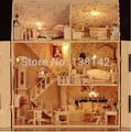 13808 large castle voice light diy dollhouse villa wooden doll house miniatures for decoration toys girls