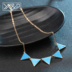 X&P Luxury Fashion Short Chain Pendant Necklaces for Women Girl Gold Chain Triangle Punk Collar Sweater Choker Necklaces Jewelry