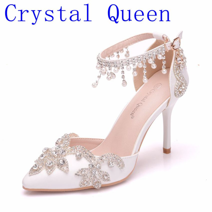 Crystal Queen Women Shoes High Heels Wedding Thin Heels White Diamond  Glittering Evening Dress Sandals Bride dbb9437a4c79