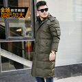 Men Lengthened Knee Down Jacket Winter Large Size Solid Mandarin Collar Hooded Thick Warm Parkas White Duck Jackets Mens