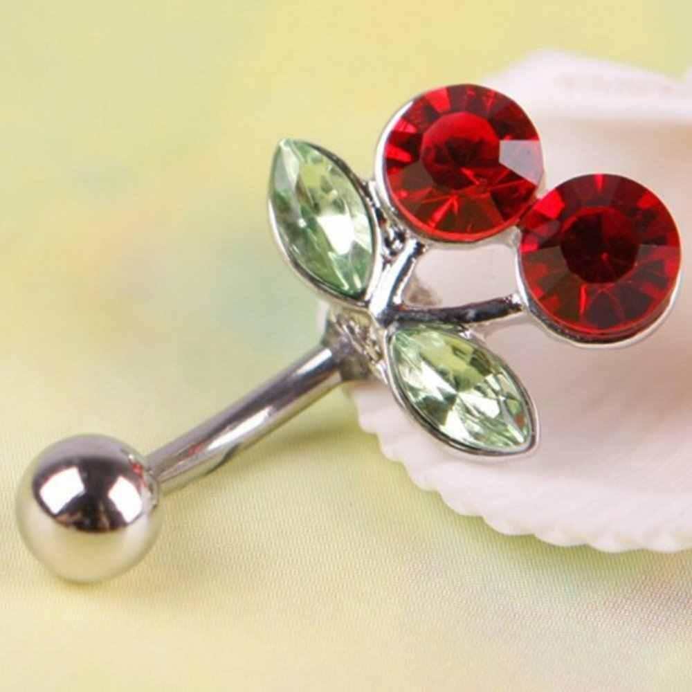 Bedah Baja Red Cherry Rhinestones Bertatahkan Perut Tombol Cincin Pusar Menawan Piercing Tubuh Perhiasan