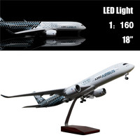 46CM 1:160 Diecast Airplane Model Airbus A350 with LED Light(Touch or Sound Control) Plane for Decoration or Gift