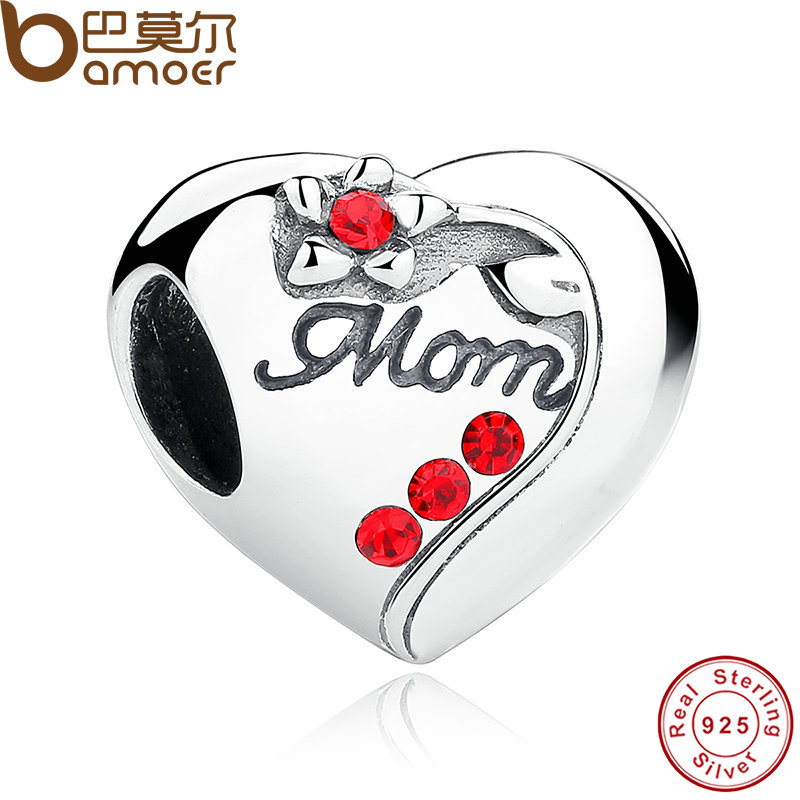 BAMOER Authentic 925 Sterling Silver MOM Red Heart Charms fit Bracelets Mother 's Day Gift SCC004 купить в Москве 2019