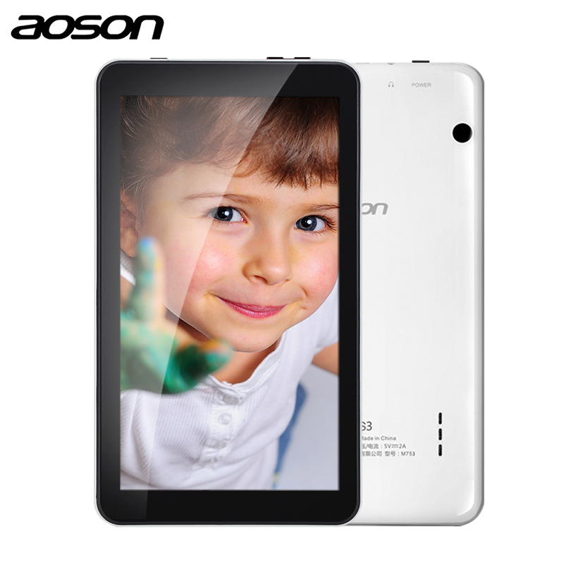 Geschenk version Aoson M753-S 7 zoll kinder tablet für kinder Android 7.1 16 GB + 1 GB IPS 1024*600 Quad Core WiFi tablet mit fall