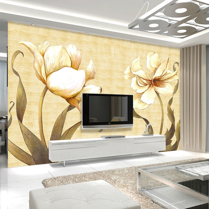 Custom Wall Mural Wallpaper Retro Oil Painting Flower Hand Painted  Background Wall Decorations Living Room Sofa