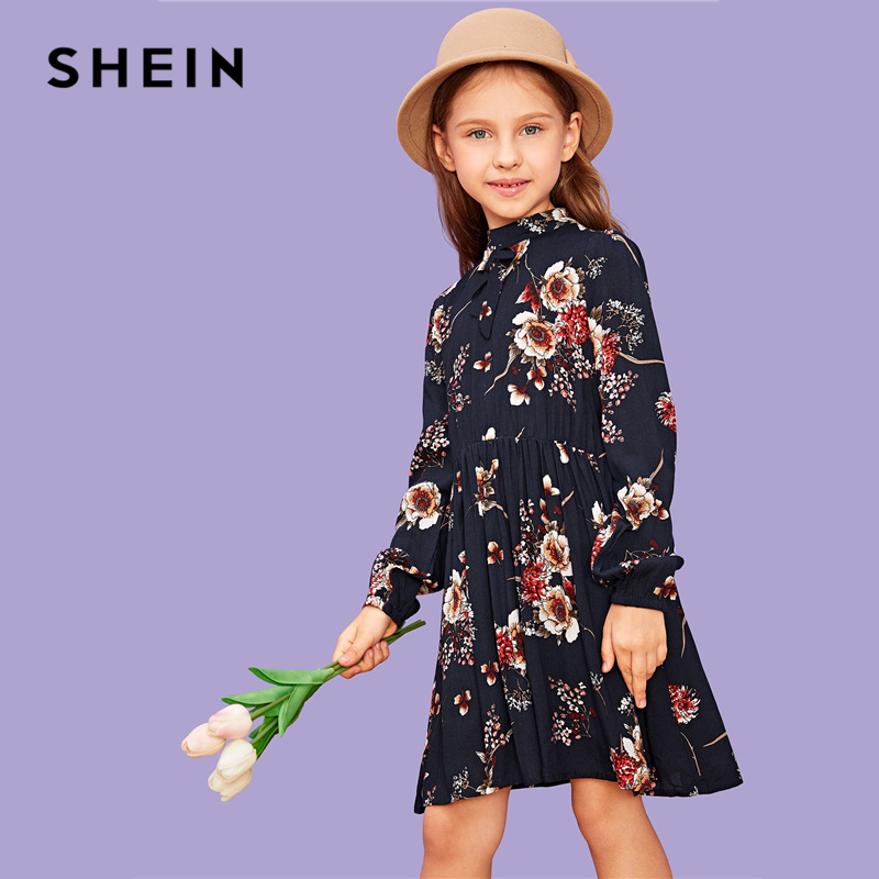 SHEIN Kiddie Navy Stand Collar Floral Print Zipper Bow Casual Dress Girls Clothes 2019 Long Sleeve A Line Beach Kids Short Dress kids girls flamingo a line dress bady girl mini dress cotton casual short sleeve striped print dress kid robe children vestidos