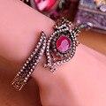 Requintada Jóia turca Azul Bangles Esculpido Flores Rhinestone AntiGold Charme Espiral pulsera pulseiras femininas masculina