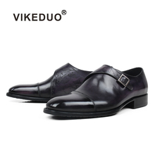 VIKEDUO Letter Engraving Monk Strap Shoes Mens Genuine Leather Patina Wedding Formal Dress Driving Footwear Zapatos