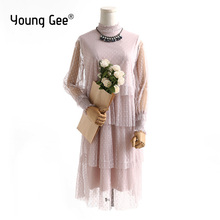 Young Gee 2019 Spring Female Twinset Womens O-neck Long Sleeve Polka Dots Multi-layer Lace Mesh Pleated Cake Dresses robe femme