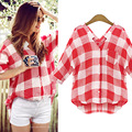 New Fashion Casual Plaid Shirt Women Loose Long Blouse V- Neck Shirt Leisure Red And White Women Casual Shirt Spring Autumn