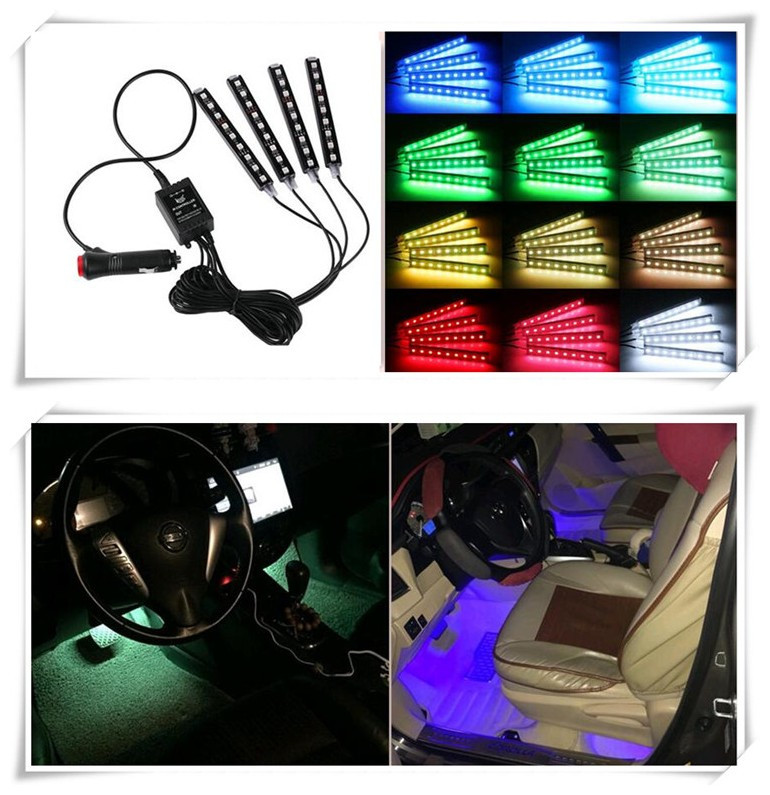 4pcs/et 7 Color LED Car Interior Lighting For Toyota Prius Levin Crown Avensis Previa Cruiser Venza Sienna sticker Accessories bluetooth link car kit with aux in interface for toyota corolla camry avensis hiace highlander mr2 prius rav4 sienna yairs venza