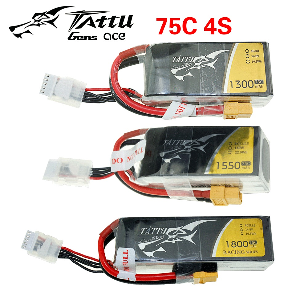 Tattu RC LiPo Battery Pack 220 450 650 850 1300 1550 1800 2500mAh 45C 75C 95C 1S 2S 3S 4S for RC FPV Racing Drone Quadcopter Toy image