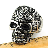 New Surprise Men Vintage Carved Head Skeleton Ring Gothic Finger Jewelry Metal Man Gift Stainless Steel