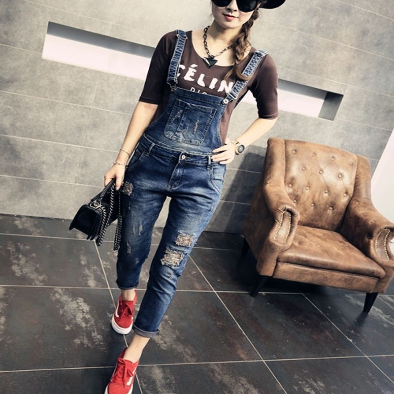 Plus size clothing suspenders mm women jeans 2016 ankle length braces denim trousers female hole bib pants plus size pants the spring new jeans pants suspenders ladies denim trousers elastic braces bib overalls for women dungarees