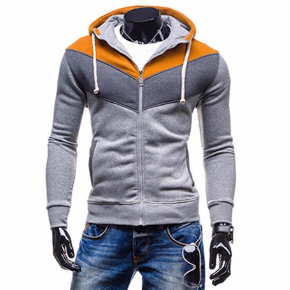 Winter Hoodies for men zipper Sweatshirt hip hop grey Teenage Casual Cardigan Hoody Jacket Autumn Coat Slim Patchwork Hoodies