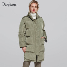 Danjeaner 2018 Winter Coat Women Vintage Solid Slim Medium-Long Parkas Plus Size Thickness Cotton Padded Warm Casual Jackets