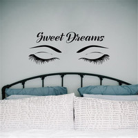 Close Eyes Wall Stickers Quotes Sweet Dreams Decal Vinyl Bedroom Applicable Adhesive Girls Room Wall Decals Houseware DIY