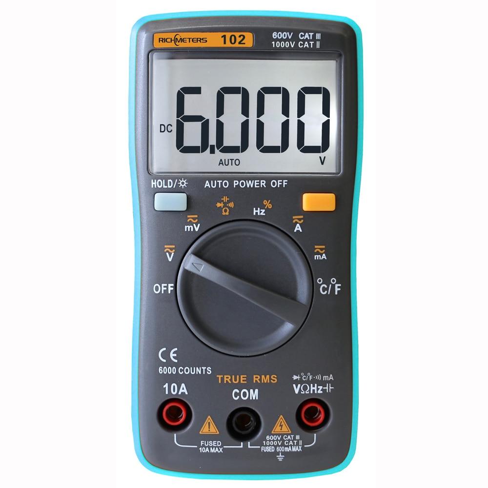 RM102 multímetro digital AC DC tensión corriente resistencia diodo capacitancia probador de temperatura automática Identificación de polaridad